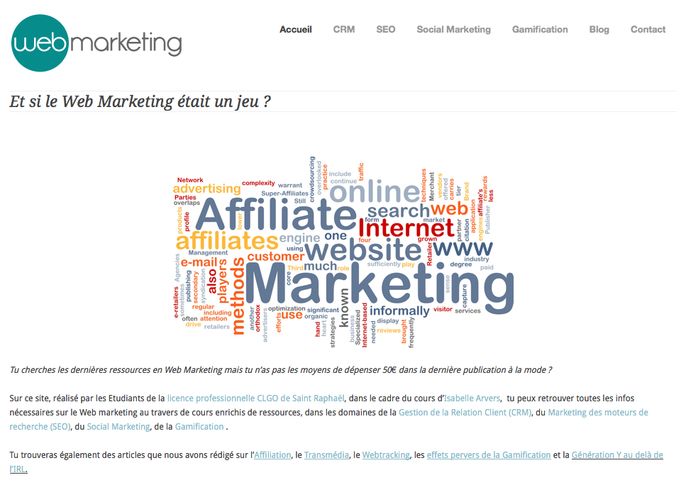 Site du cours de web marketing d'Isabelle Arvers, IUT ST Raphael