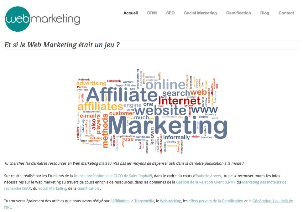 Site du cours de web marketing d'Isabelle Arvers, IUT ST Raphael
